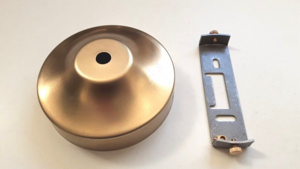ceiling rose and strap bracket 100mm dia raw unpolished brass 2 screw fixing