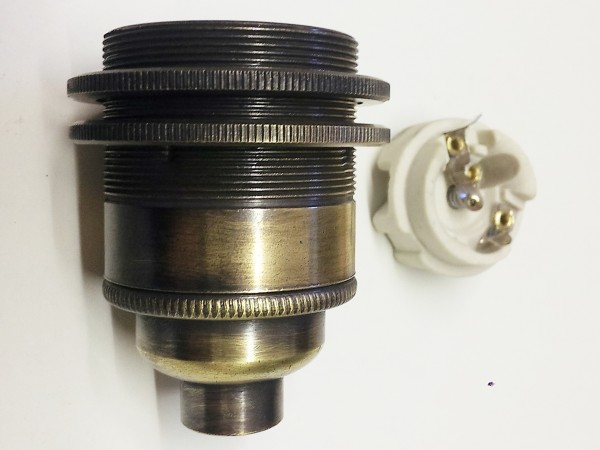 ES E27- 3 part bulb lamp holder aged brushed antique effect 10mm thread
