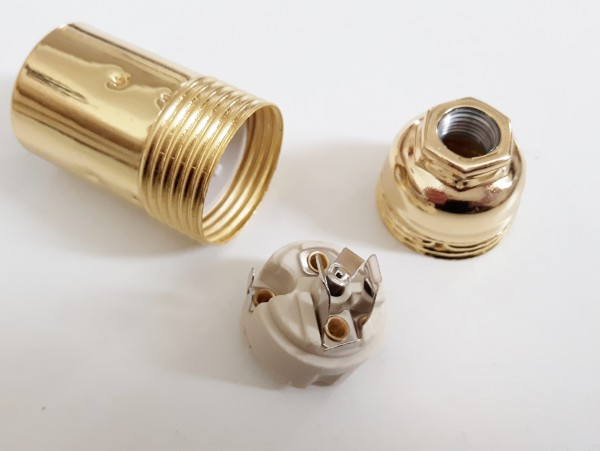 Small Edison E14 bulb lamp holder 3 part plain skirt Brass finish