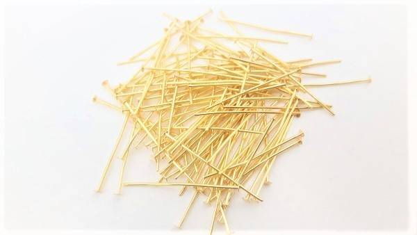 100 Brass pins 40mm x 0.8mm with 2mm pin head