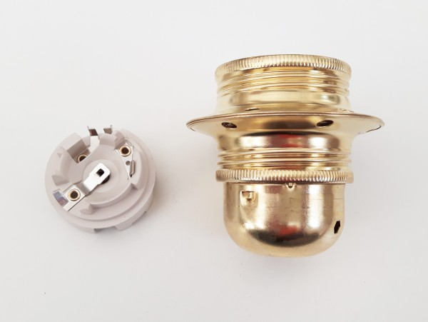 ES E27 bulb-lamp holder 3 part plus shade ring in Brass