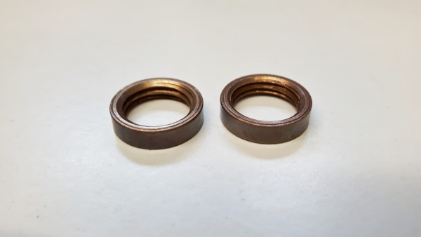 2 x M10 solid brass ring nuts in antique brass