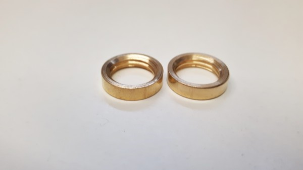2 x M10 solid brass ring nuts 10mm internal thread