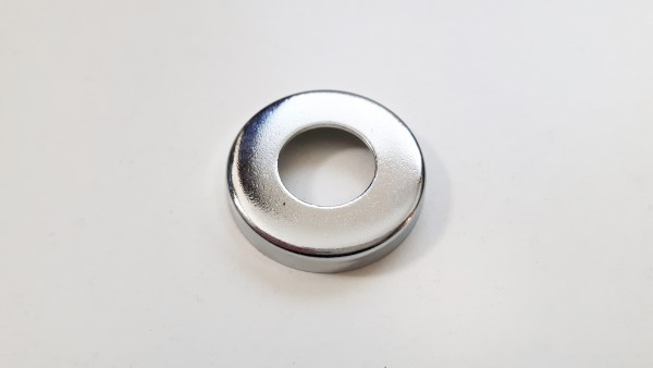 5 X CHROME PRESSED NUT COVERS WASHERS 13MM CENTRE HOLE