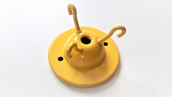 brass 3 hook ceiling plate for light fitting in yellow