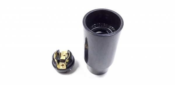 E14 bulb-lamp holder 3 part plain skirt black plastic