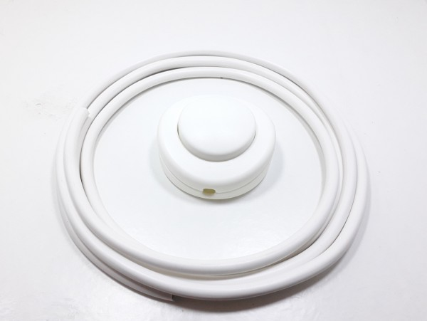 Inline Floor Lamp Switch 2 or 3 core in WHITE with 2 metres of Cable