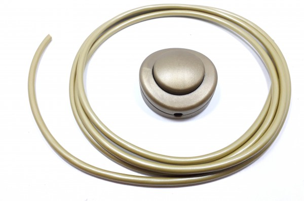 Lamp Switch Floor Or Table Inline Switch In Gold 2 or 3 Core With 2 Metres Cable