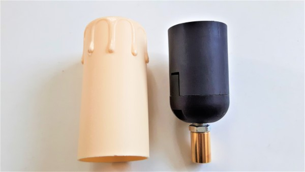 E27 2 part black lamp holder and Candle Tube cream Drip plastic 85mm x 40mm