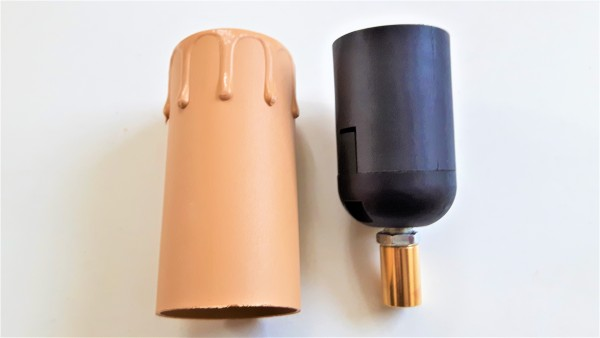 E27 2 part black lamp holder and Candle Tube brown Drip plastic 85mm x 40mm
