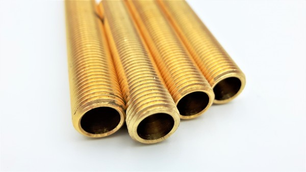 Brass threaded hollow tube stem tube 10mm metric thread 1mm fine pitch 75mm long