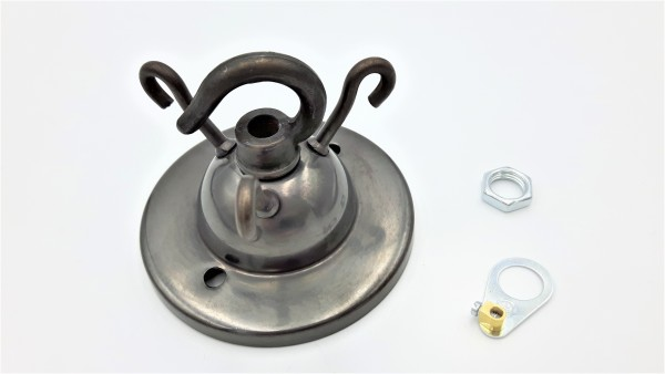 3 hook old bronze finish ceiling pendant plate with centre hook and earth tag
