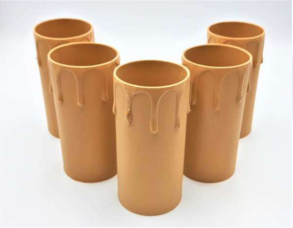 Candle Tubes-sleeves brown Drip Plastic 40mm x 85mm