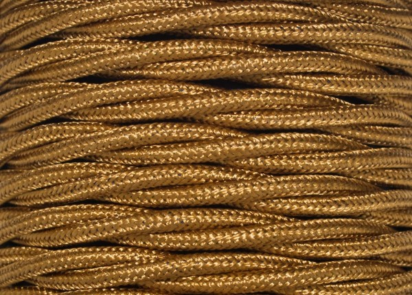 Braided silk flex lighting cable in antique gold 3 core, 0.50mm