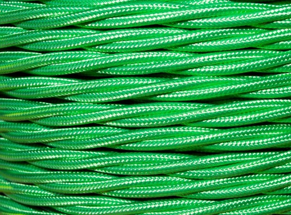 100 METRES of Braided 3 core silk flex lighting cable apple green 0.75mm