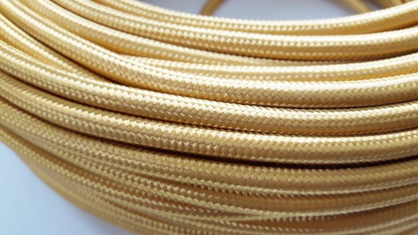 Pale gold over braid round silk flex 2 core 0.50mm inner core fabric cable wire