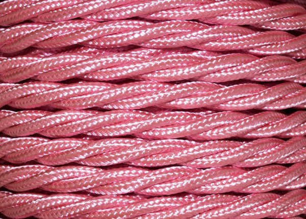 100 METRES of Braided 3 core silk flex lighting cable baby pink 0.75mm