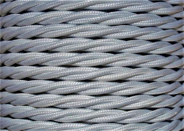 Braided 3 core flex chandelier cable silver 0.75mm