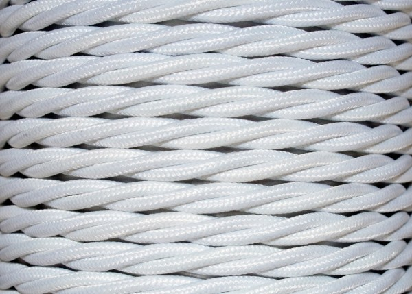 BRAIDED 3 CORE SILK FLEX CHANDELIER CABLE WHITE 0.75mm