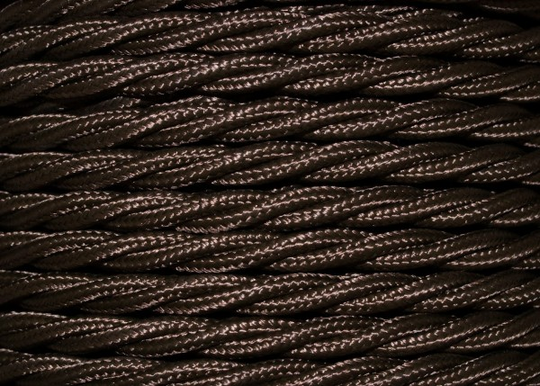3 Core Braided Silk Flex Electrical Cable 0.75mm BROWN