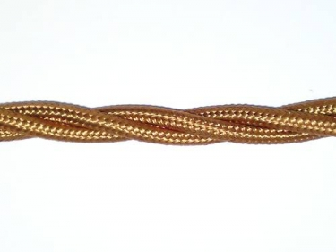 Braided silk flex chandelier cable in Antique gold 3 core, 0.75mm