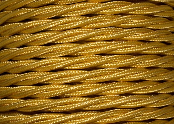 3 Core Braided Silk Flex Electrical Cable 0.75mm GOLD