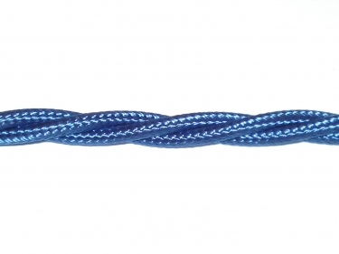 Braided silk flex chandelier cable in royal blue 3 core, 0.50mm