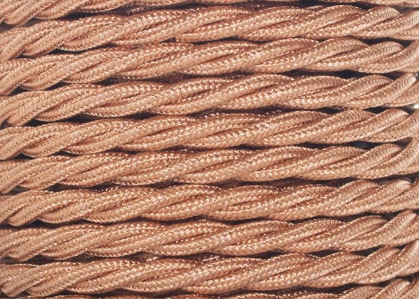 Braided silk flex chandelier cable in copper 3 core, 0.75mm