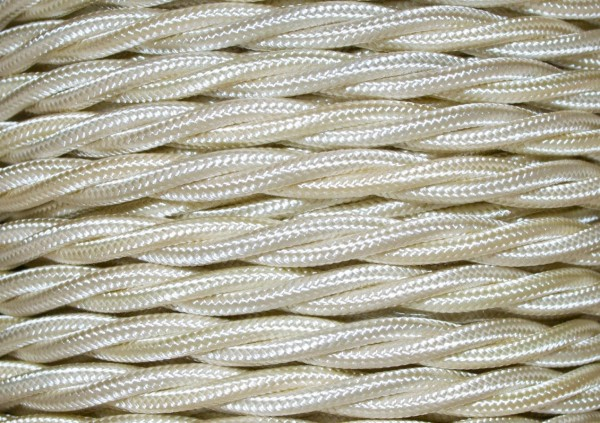 BRAIDED 3 CORE SILK FLEX CHANDELIER CABLE CREAM 0.75mm