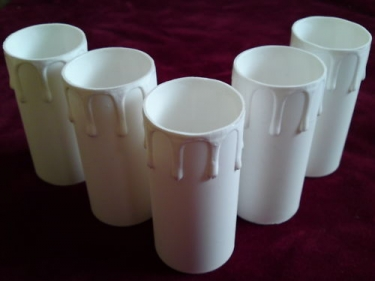 Candle Tubes-sleeves white Drip Plastic 40mm x 85mm p