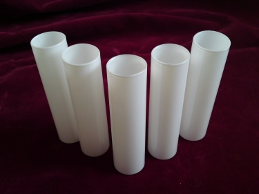 GLASS CANDLE TUBE SLEEVE COVER IN WHITE 130MM X 29MM