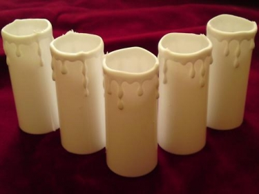 Candle covers white Drip effect Plastic 80mm x 33mm