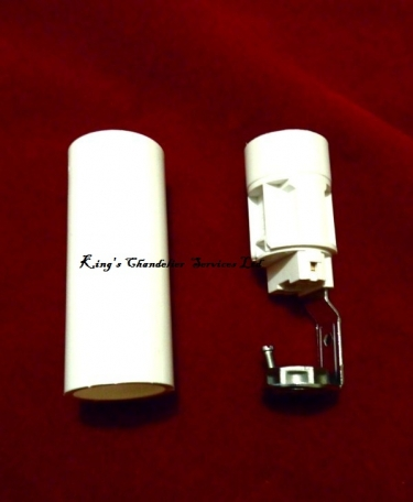 Candle Tube sleeve 65mm x 24mm White Plastic and Lampholder E14 SES To Fit