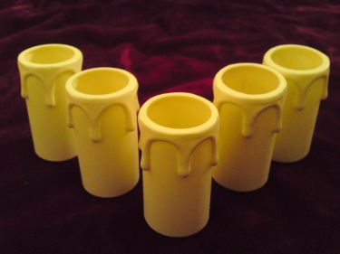 ivory drip plastic candle tubes 55mm height x 27mm internal diameter