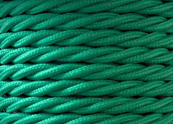 3 Core Braided Silk Lighting Flex Period Cable 0.75mm FOREST GREEN