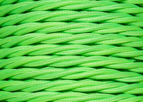 100 METRES of Lime coloured Braided 3 core silk flex lighting cable 0.75mm