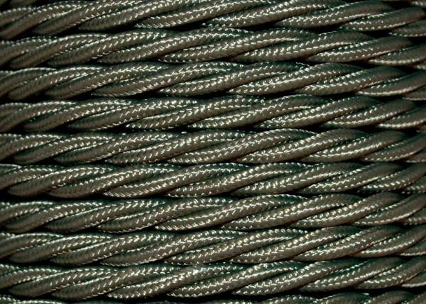 Green Braided 3 Core Perid Silk Cord Flex KHAKI GREEN 0.75mm