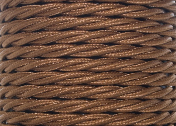 100 METRES of Nutmeg coloured Braided 3 core silk flex lighting cable 0.75mm