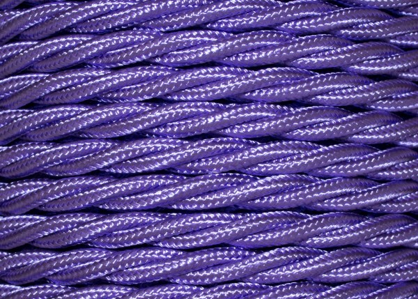 100 METRES of Purple coloured Braided 3 core silk flex lighting cable 0.75mm