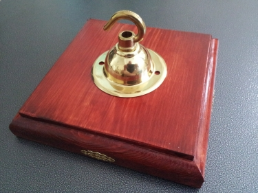 Red mahogany style wooden pattress square with brass hook plate