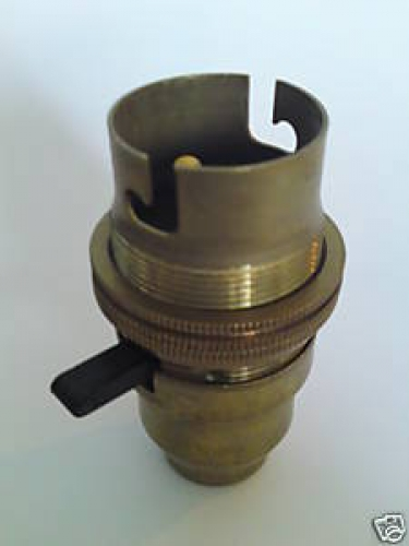 Switched bulb-lamp holder B22 Antique Brass Finish