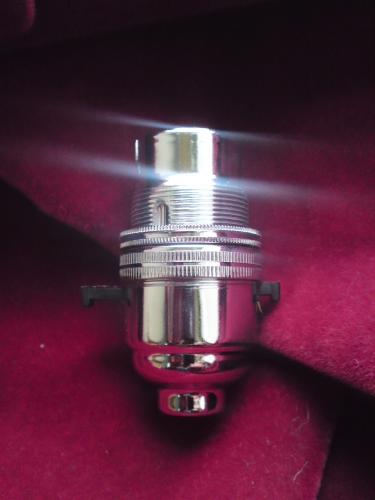 Switched lamp holder BC B22 chrome plated finish 10mm base thread