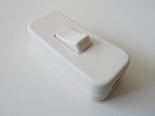 White inline lamp switch or light switch 2 or 3 core