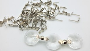 Chrome chandelier bow clips for pinning crystal and glass