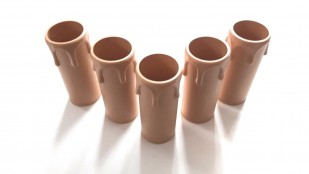 brown plastic drip candle tubes 65mm height x 24mm internal diameter