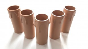 Brown plastic drip candle tubes 90mm height x 27mm internal diameter