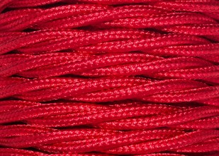 RED 3 Core Braided Silk Flex Electrical Cable 0.75mm