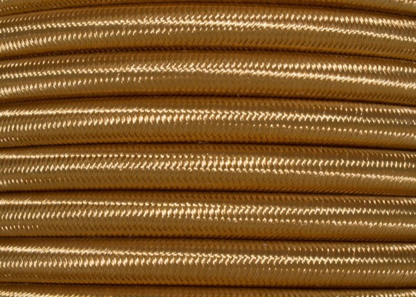 ANTIQUE GOLD ROUND OVERBRAID 3 CORE FLEX ELECTRIC LIGHTING CABLE CORD WIRE 0.50 MM
